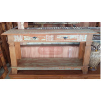 Aparador Rústico Colorido com prateleira e 2 Gavetas 1,60 x 0,40 em Madeira de Demolição - 10083