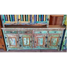 Balcão/ Buffet Rústico 4 portas e gavetas 2,00 x 0,46 Colorido em Madeira de Demolição - 10106