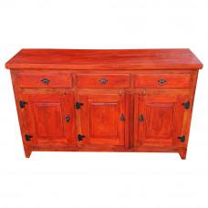 Balcão / Buffet Rústico com tinta Vermelha 3 portas e gavetas  - 10109