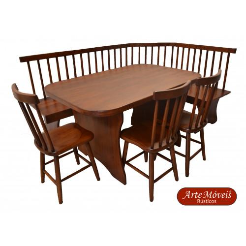 Conjunto - Canto Alemão com uma Mesa e 3 Cadeiras - 48590