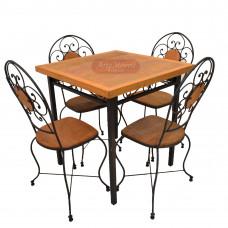 Conjunto de Mesa Quadrada com 4 cadeira de ferro com madeira - 47487