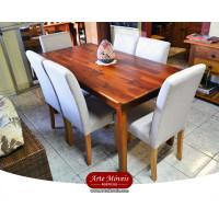 Conjunto Mesa 1,60 x 0,80 + 6 Cadeiras Estofadas - 81672