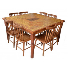 """Conjunto Mesa """"Marchetada"""" com Oito Cadeiras - 45681"""