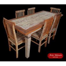 """Conjunto de Mesa e 6 Cadeiras com acabamento """"Provençal"""" - 46374"""
