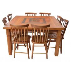"""Conjunto Mesa """"Marchetada"""" com Oito Cadeiras - 45698"""