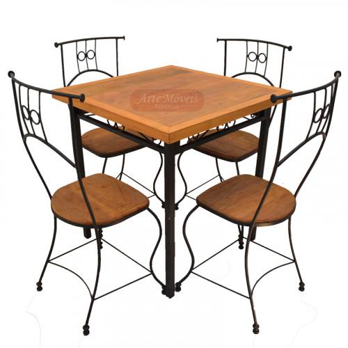 Conjunto de Mesa Quadrada com 4 cadeira de ferro com madeira - 47494
