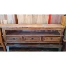 Rack Patchwork 1,80 x 0,40  Rústico 3 gavetas em Madeira de Demolição - 10131