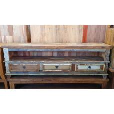 Rack Patchwork 1,80 x 0,40  Rústico 3 gavetas em Madeira de Demolição com Tinta- 10130