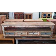 Rack Patchwork 2,00 x 0,40  Rústico 3 gavetas em Madeira de Demolição com Tinta- 10129