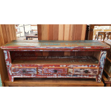 Rack 1,50 x 0,40 Rústico Colorido 3 Gavetas em Peroba Rosa - 10134