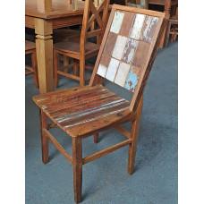 Cadeira Patchwork Rústica Ripada com Tinta em Peroba Rosa - 10105 Promoção Limitada