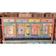 Balcão/ Buffet Rústico 4 portas e gavetas 2,00 x 0,46 Colorido em Madeira de Demolição - 10107