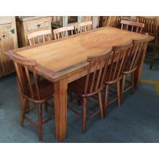 Conjunto Mesa Rústica 1,80  com 8 cadeiras em Madeira de Demolição (Peroba Rosa) - 10142