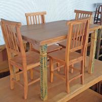Conjunto Mesa Aplainada 1,20  com 4 cadeiras em Madeira de Demolição (Peroba Rosa) - 10141