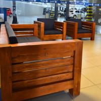 Conjunto de Sofá 3 Lugares e 2 Poltronas Modelo Design - 43373