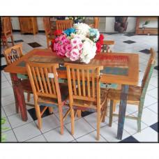 Mesa Rústica 6 Lugares 1,50 Colorida Entalhada com Cantos Arredondados - 83119