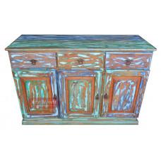 Buffet 3 portas e gavetas 1,35 x 0,50 aplainado com tinta em madeira de demolição - 05166