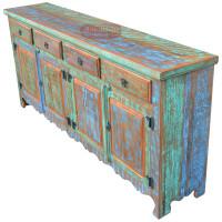 Balcão / Buffet Rústico 2,00 com 4 portas e gavetas Colorido em Madeira de Demolição - 84507