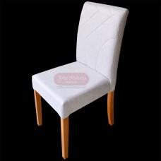 """Cadeira Estofada """"Eiffel"""" Linho Cinza em Madeira Maciça - 84591"""