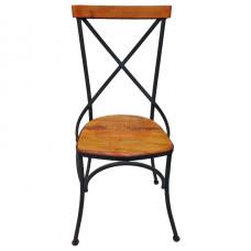 """Cadeira """"Katrina"""" com Encosto estilo """"X"""" em Ferro com Madeira - 84377"""