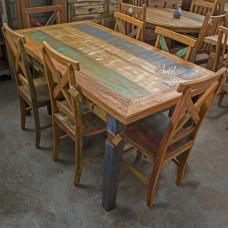 "Conjunto Com Tinta Mesa Retangular 1,60 x 0,80 + 6 Cadeiras ""X"" - 4488-2"