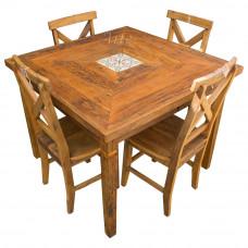 Conjunto Mesa 1,00 x 1,00 Quadrada com Ladrilho + 4 Cadeiras X - 4935