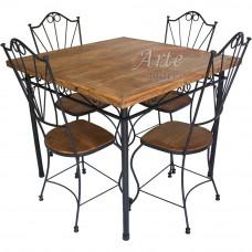 Conjunto Mesa + 4 Cadeiras em Madeira e Ferro - 4963