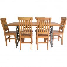 Conjunto Mesa Pé em Ferro + 6 Cadeiras em Peroba Rosa - 5029