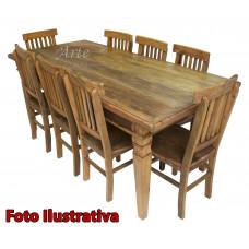 Conjunto Mesa 1,90 + 8 Cadeiras em Madeira - 5045