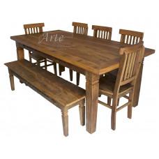 Conjunto Mesa 2,00 x 1,00 com Banco + 5 Cadeiras em Peroba Rosa - 5046