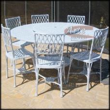 """Conjunto Mesa 1,50 Ø com 6 Cadeiras """"Bambu"""" em Alumínio Fundido Branco - 5055"""