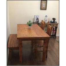 Conjunto Mesa 1,60 x 0,80 + 2 Cadeiras e Banco Plainado em Peroba Rosa - 5063