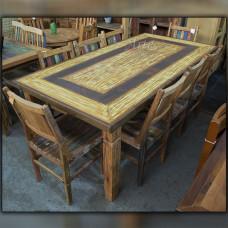 Conjunto Mesa + 8 Cadeiras Com Tinta em Peroba - 5124
