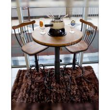 Conjunto Regulável Bistrô  e 2 Banquetas Giratórias em Ferro com Madeira de Demolição - 5184