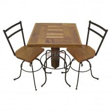 Conjunto Mesa + 2 Banquetas em Cumaru e Ferro - 5189