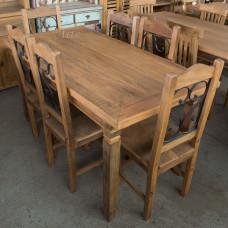 Conjunto Mesa 1,80 x 0,80 + 6 Cadeiras em Peroba - 5215