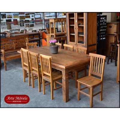 Conjunto Rústico Mesa 8 Lugares com Cadeiras Mineiras - 44493