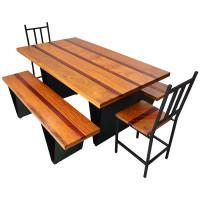 """Conjunto 8 Lugares estilo """"V"""" Mesa 1,60 com Bancos e Cadeiras em Ferro com Madeira - 84434"""