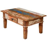 Mesa de Centro Rústica 1,00 x 0,60 Colorida com 1 Gaveta em Madeira de Demolição (Peroba Rosa) - 84086