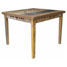 Mesa 1,00 x 1,00 Quadrada com Tinta Entalhada em Peroba Rosa - 4776
