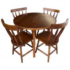 Conjunto Mesa Redonda 0,90 com 4 Cadeiras Country Imbuia em Taeda - 4783