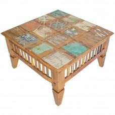 Mesa de Centro 0,80 x 0,80 Quadrada Marchetada  Com Tinta em Peroba Rosa - 4830