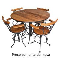 Mesa Bistrô 4 Lugares Redondo Regulável 1,00 em Ferro com Madeira - 5302