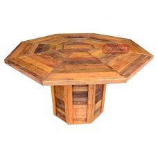 """Mesa Octagonal Rústica 1,40 com pés tipo """"Coluna"""" ripado em madeira de demolição - 77583"""