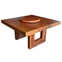 Mesa Quadrada 1,50 com prato giratórios e pés linha reta em madeira de demolição - 76968