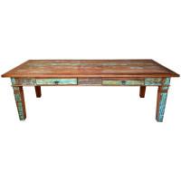 Mesa de Jantar Rústica 2,50 com Tinta 10 Lugares 2 Gavetas em Madeira de Demolição (Peroba Rosa) - 84503