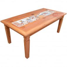Mesa de Jantar Rústica com Azulejo 8 Lugares em Madeira de Demolição (Peroba Rosa) - 84579