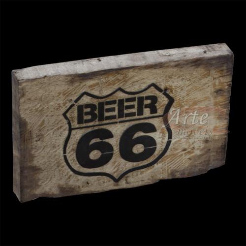 """Placa """"Beer 66"""" Pequena em Madeira - 5221"""