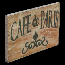 """Placa """"Café de Paris"""" Branca em Madeira - 5223"""