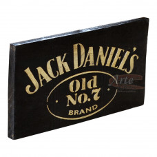 """Placa """"Jack Daniel's"""" Preta em Madeira - 5224"""